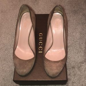 Gucci Suede Wedge Shoes